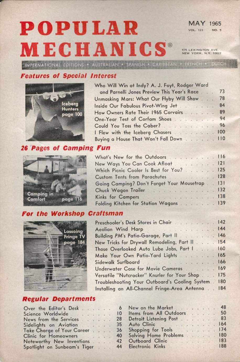 POPULAR MECHANICS Foyt Ward Jones Indy Corvair Corfam Shoes Mars Flyby ++ 5 1965
