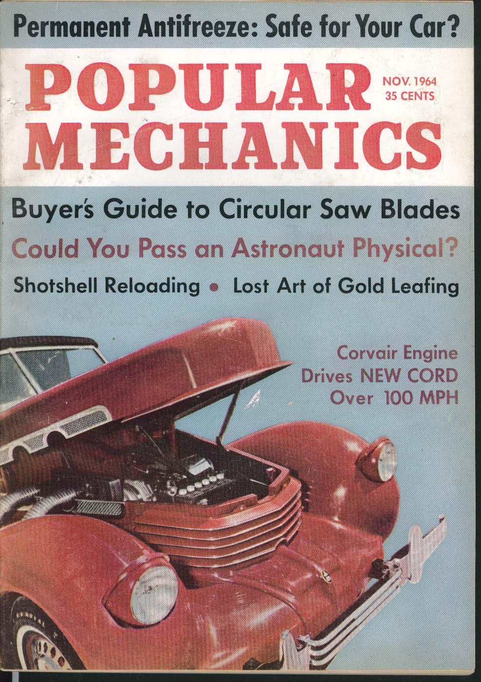 Image for POPULAR MECHANICS Antifreeze Circular Saw Blade Astronaut Corvair Engine 11 1964