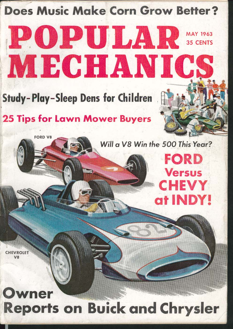 Image for POPULAR MECHANICS Music Makes Corn Grow Ford Chevy Indy Buick Chrysler ++ 5 1963