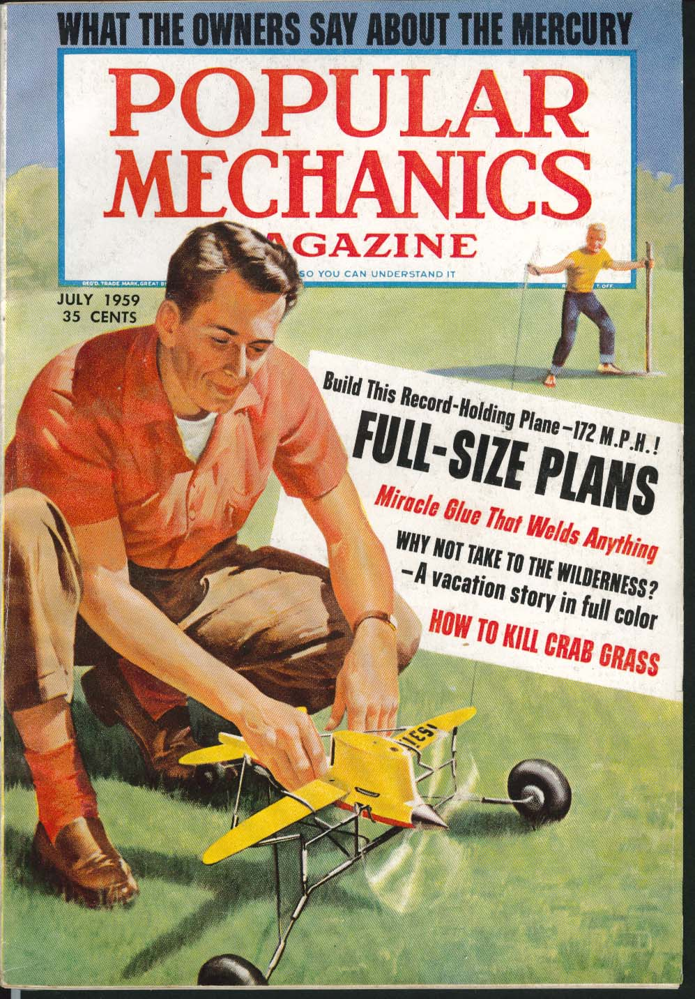 Image for POPULAR MECHANICS Mercury Test Report Model Plane Plans Miracle Glue ++ 7 1959