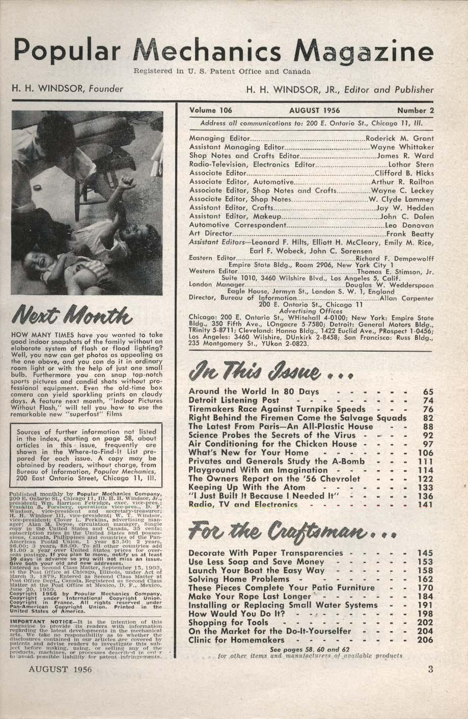 Image for POPULAR MECHANICS Chevrolet Test Indian Crafstmen Television Cameras ++ 8 1956