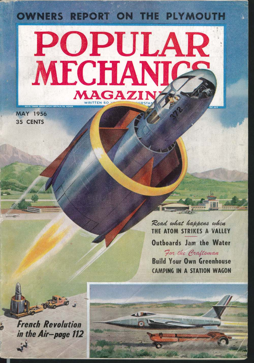 Image for POPULAR MECHANICS Atomic Tests Outboards Greenhouse Station Wagon Camping 5 1956