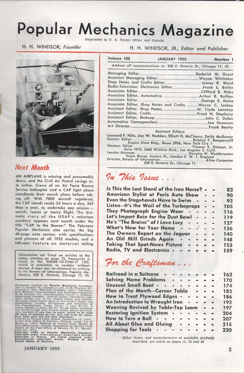 POPULAR MECHANICS Locomotives American Stylist Paris Auto Show ++ 1 1955