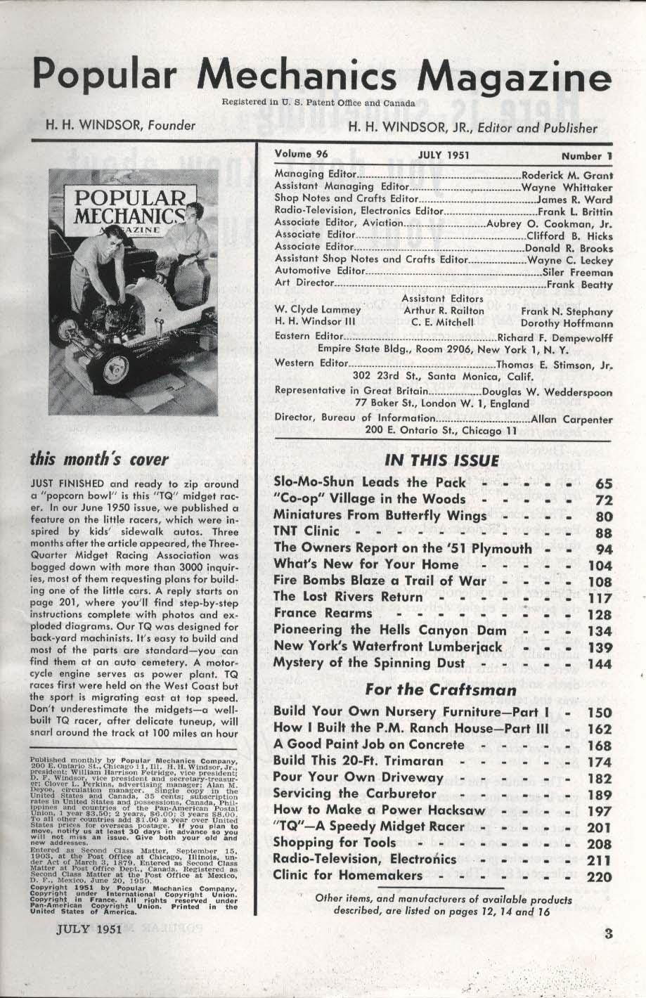 POPULAR MECHANICS Power-Boat Speedster Butterfly Wing Miniature Fire Bomb 7 1951
