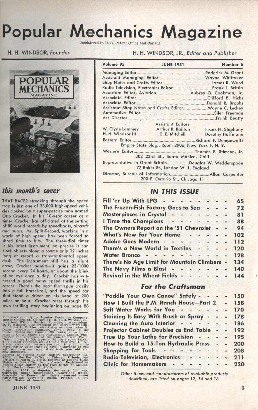POPULAR MECHANICS Chevrolet Owners Liquefied Petroleum Gas Bowl-o-Matic + 6 1951