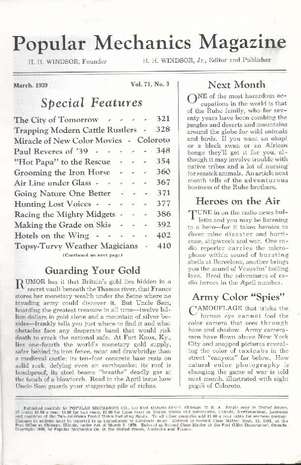 Image for POPULAR MECHANICS Cattle Rustler Color Films Pan Am Clipper Midget Racing 3 1939