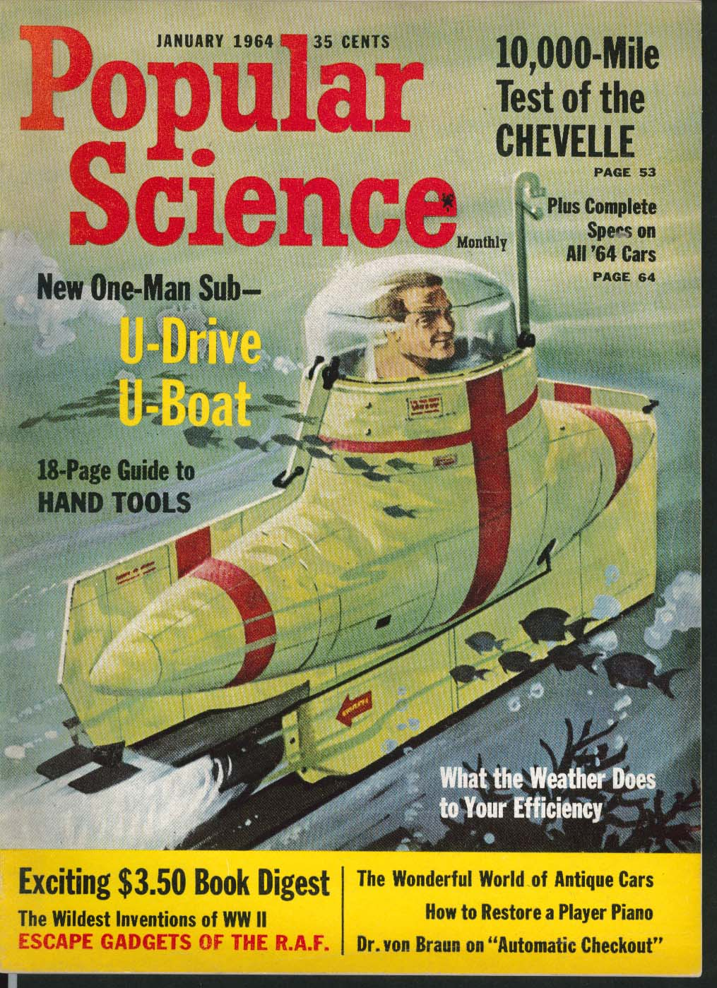 Image for POPULAR SCIENCE One-Man Submarine Chevrolet Chevelle road test ++ 1 1964