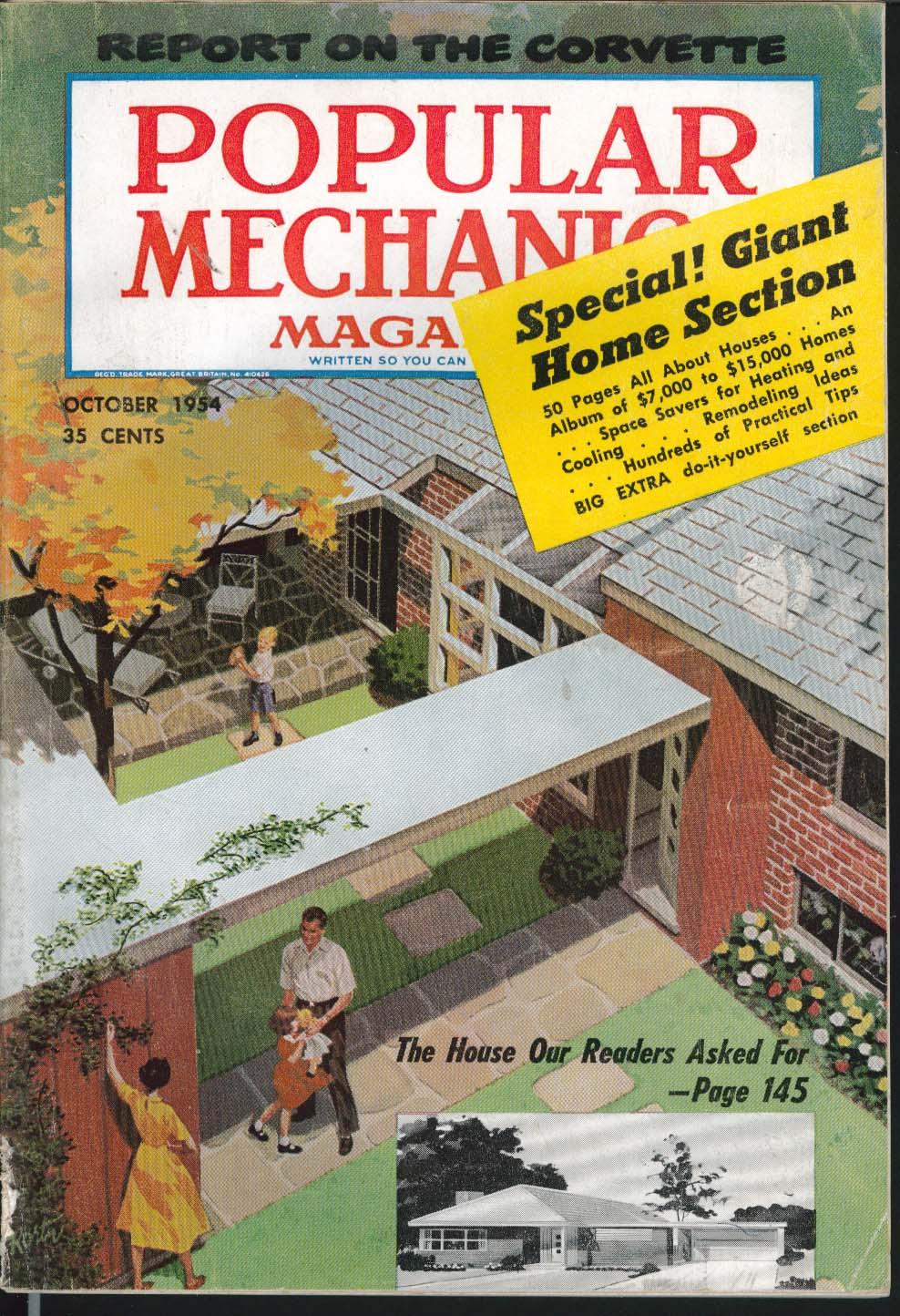 Image for POPULAR MECHANICS Corvette test report Dream House ++ 10 1954