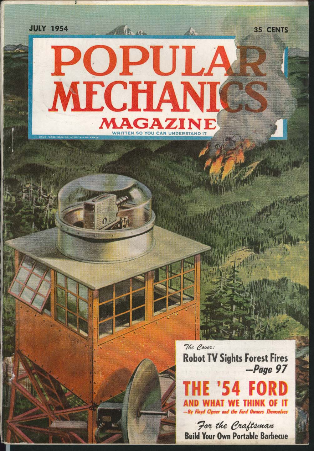 Image for POPULAR MECHANICS Robot TV Ford road test report Portable Barbecue 7 1954