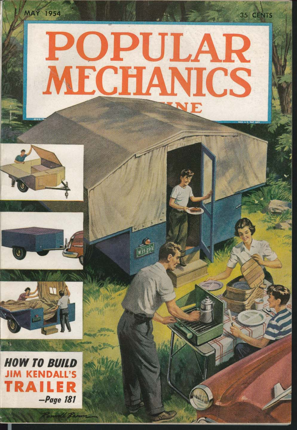Image for POPULAR MECHANICS Jim Kendall Trailer Mercury Test Antique Restoration ++ 5 1954