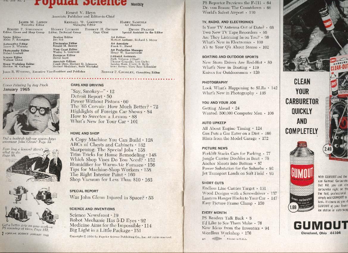 Image for POPULAR SCIENCE John Glenn Wankel Corvair Wernher von Braun Shop Vacuum + 1 1965
