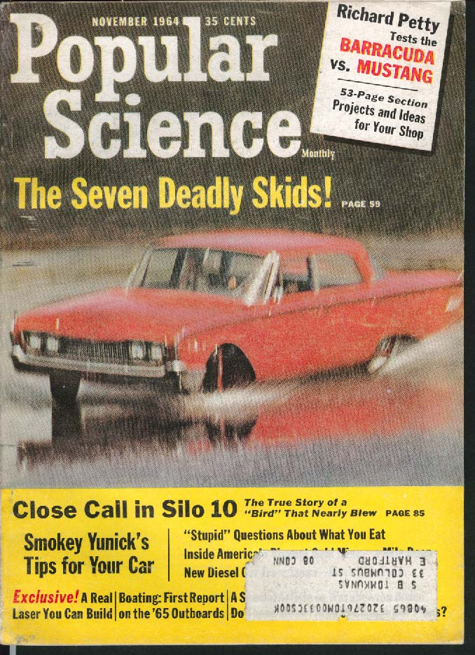 Image for POPULAR SCIENCE Barracuda Mustang Richard Petty Smokey Yunick von Braun 11 1964