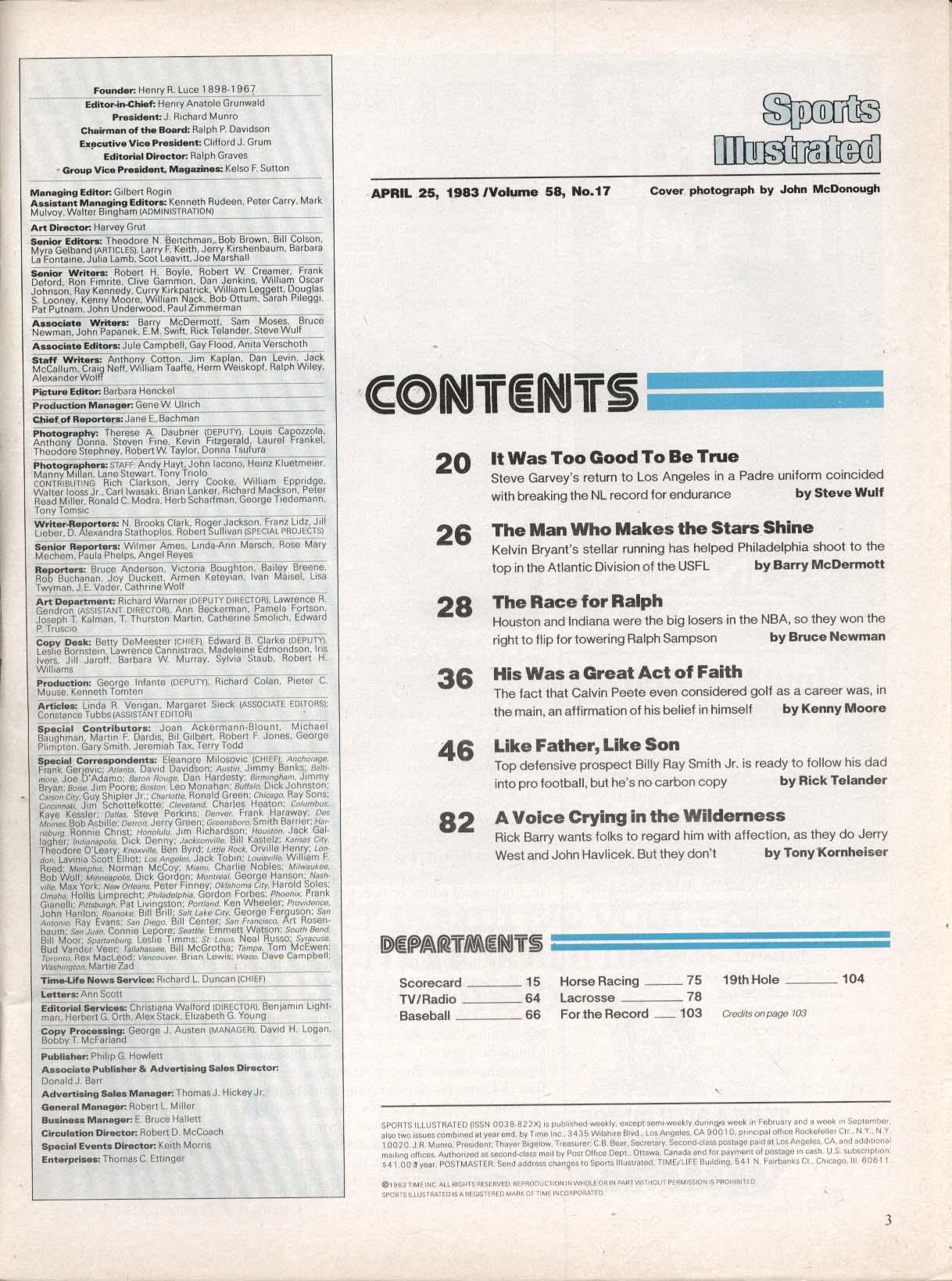 Image for SPORTS ILLUSTRATED Steve Garvey Kelvin Bryant Ralph Sampson ++ 4/25 1983