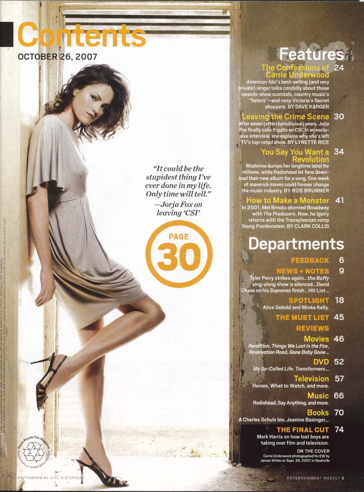 Image for ENTERTAINMENT WEEKLY #961 Carrie Underwood Madonna Radiohead ++ 10/26 2007