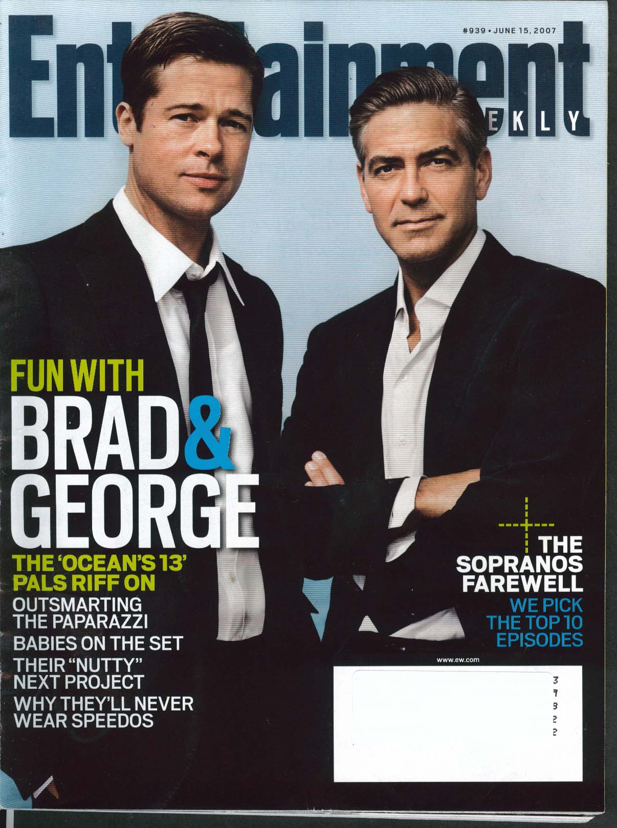 Image for ENTERTAINMENT WEEKLY #939 Brad Pitt George Clooney Maroon 5 Bob Barker 6/15 2007