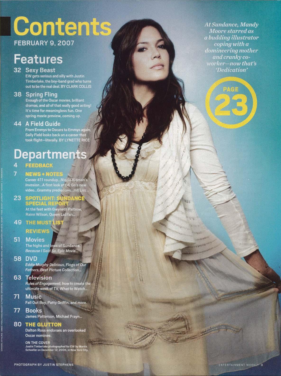 Image for ENTERTAINMENT WEEKLY Justin Timberlake Nicole Kidman Mandy Moore ++ 2/9 2007