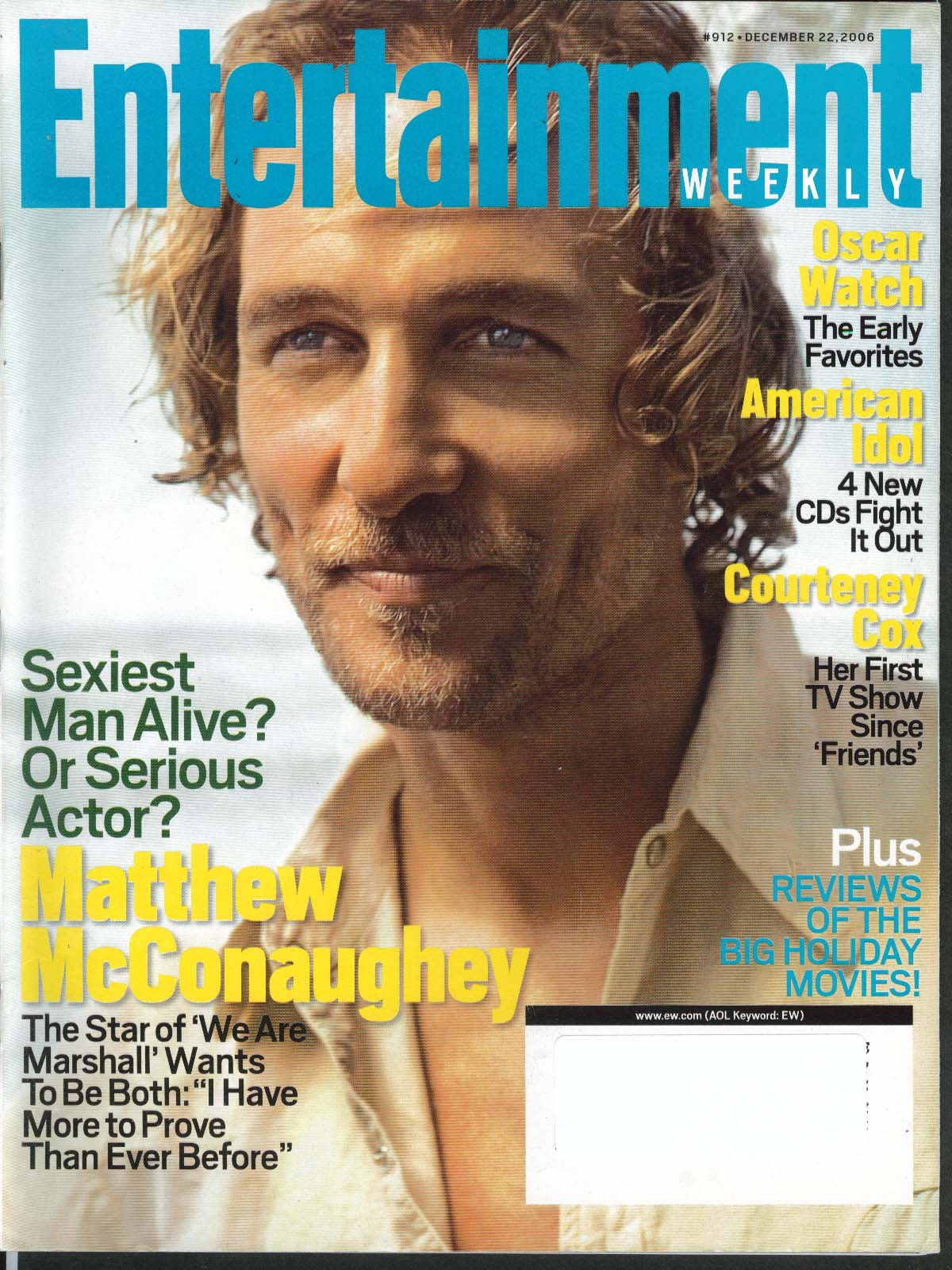 Image for ENTERTAINMENT WEEKLY Matthew McConaughey Courteney Cox Beyonce ++ 12/22 2006
