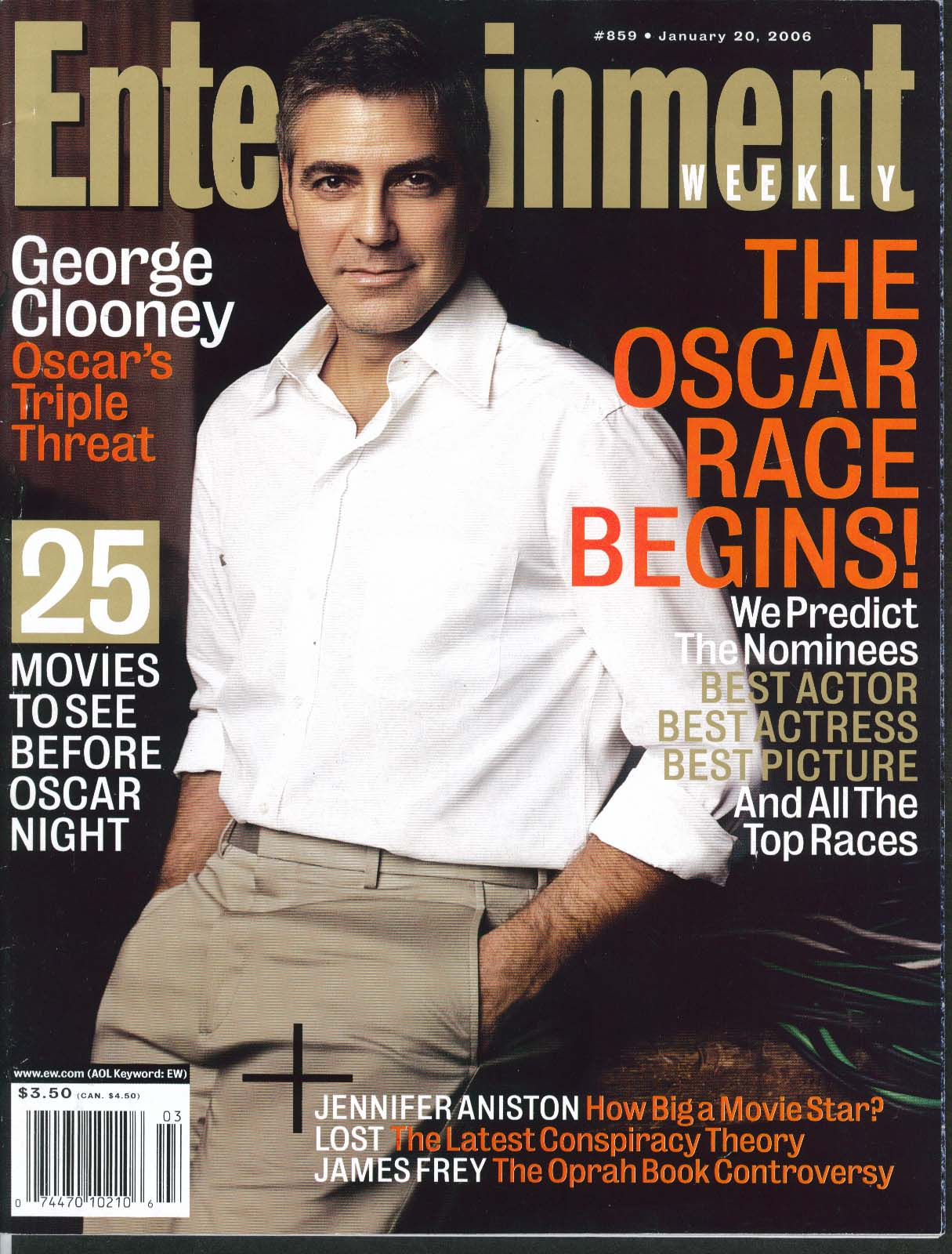 Image for ENTERTAINMENT WEEKLY George Clooney Jennifer Aniston James Frey ++ 1/20 2006