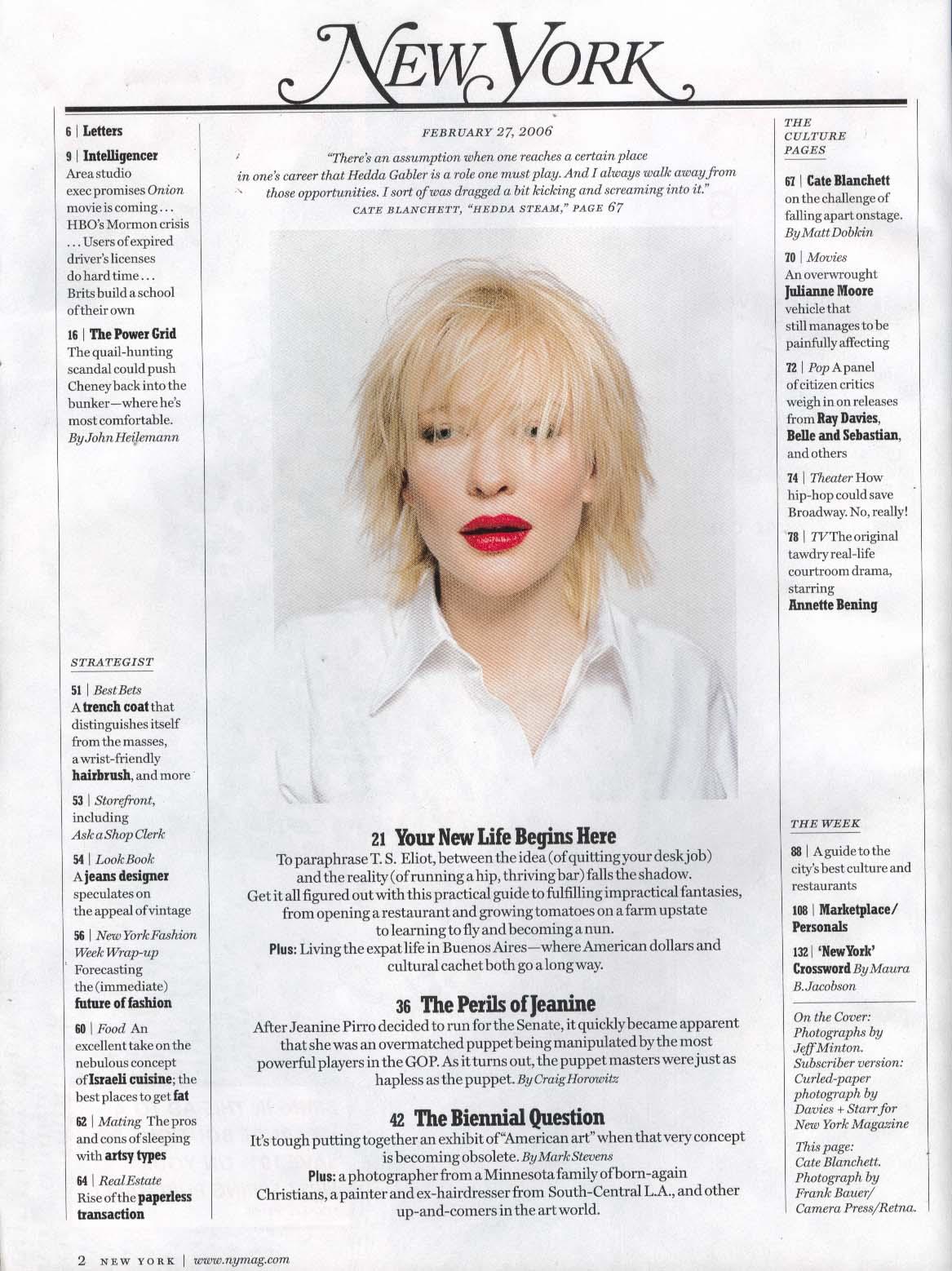 Image for NEW YORK Cate Blanchett Dick Cheney Julianne Moore Annette Bening ++ 2/27 2006