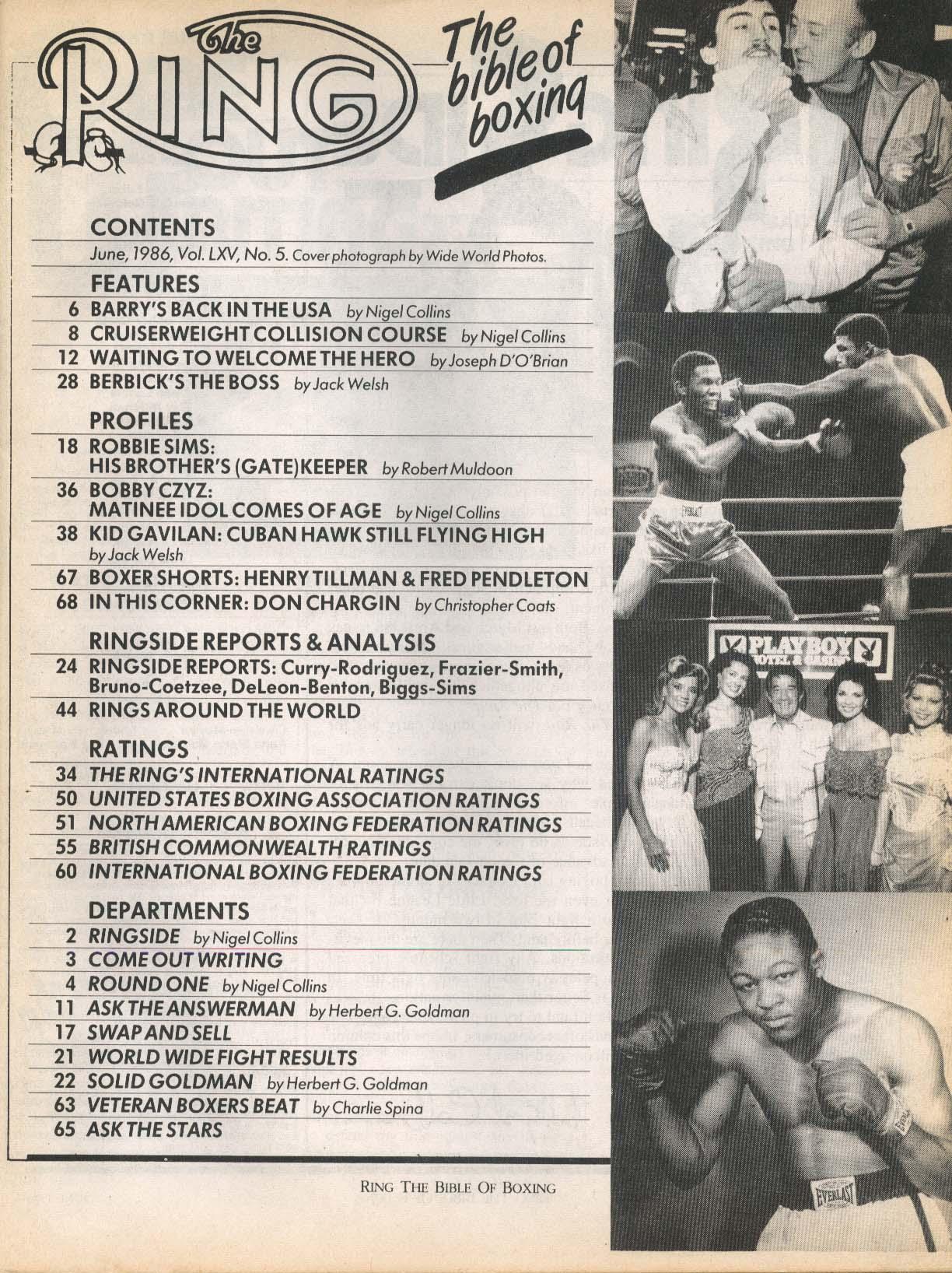 Image for RING Barry McGuigan Bobby Czyz Robbie Sims Qawi-Holyfield Gavilan ++ 6 1986