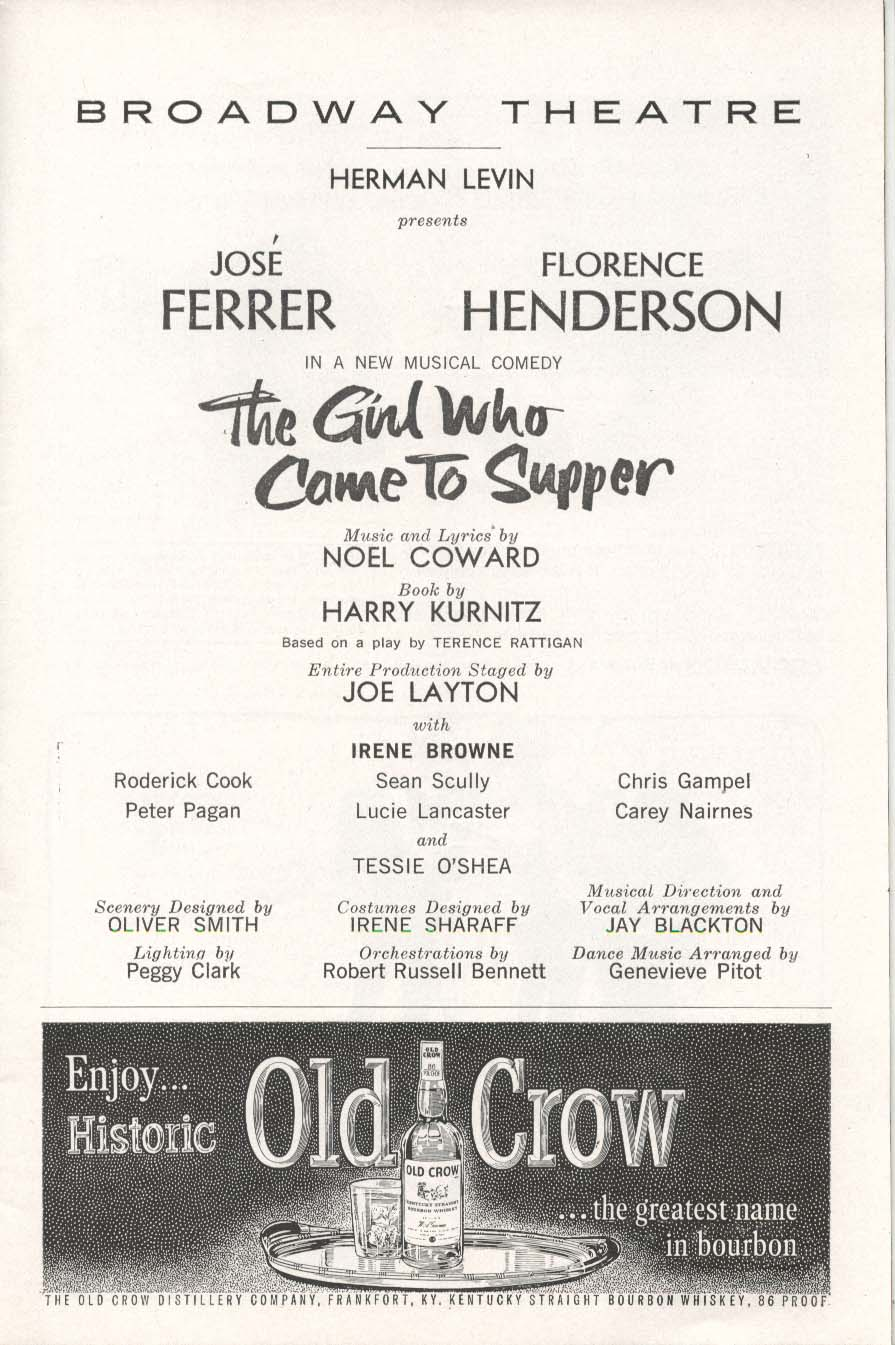 Image for The Girl Who Came To Supper Playbill 12/23/63 Jose Ferrer Florence Henderson