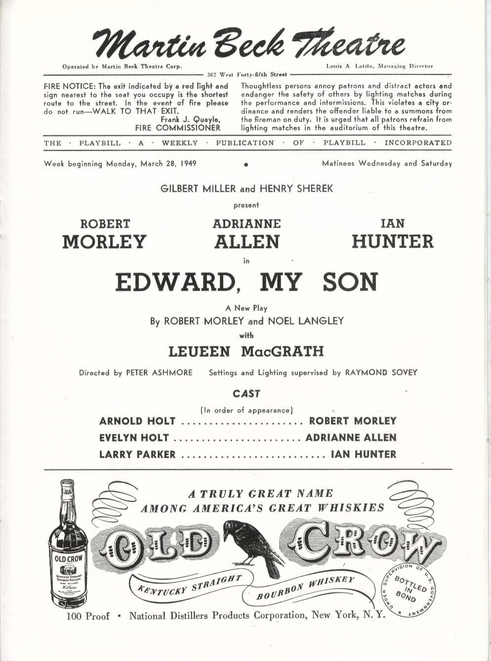 Image for Edward, My Son Playbill 3/28/49 Robert Morley Adrianne Allen Ian Hunter