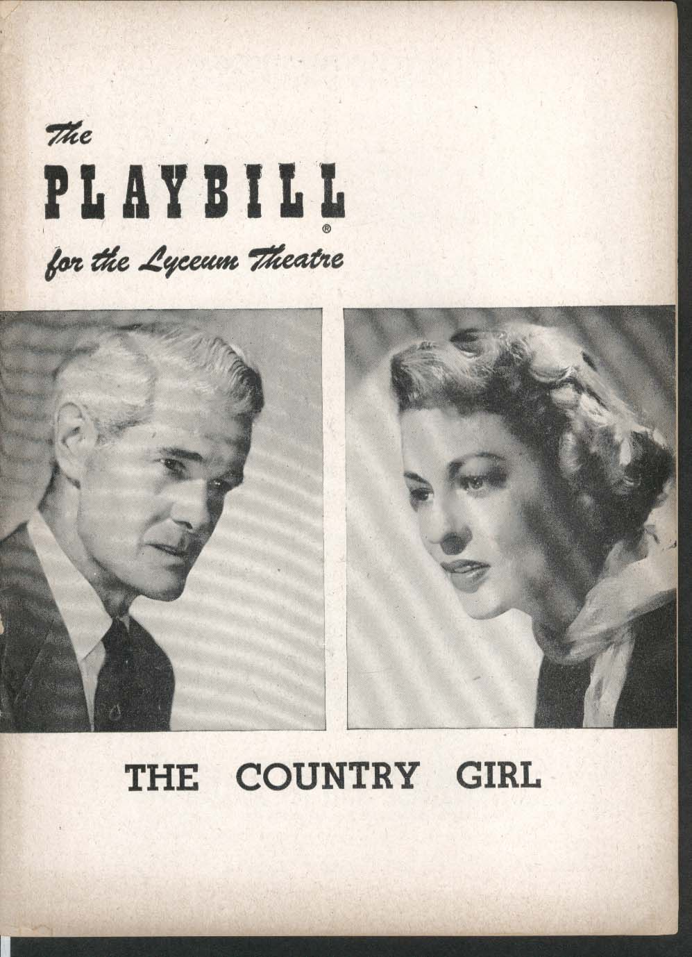 Image for The Country Girl Playbill 4/30/51 Paul Kelly Uta Hagen