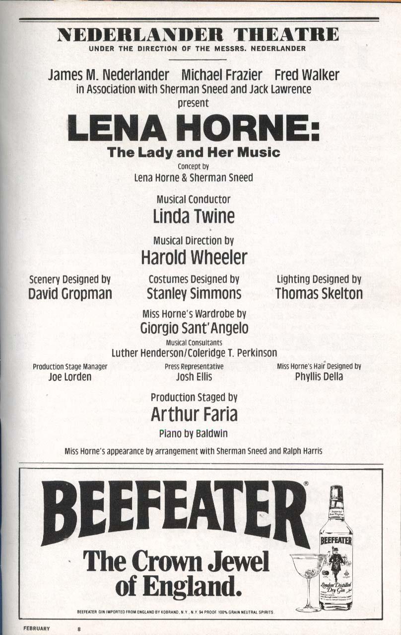 Image for The Lady and Her Music Playbill 2/1982 Lena Horne Nederlander