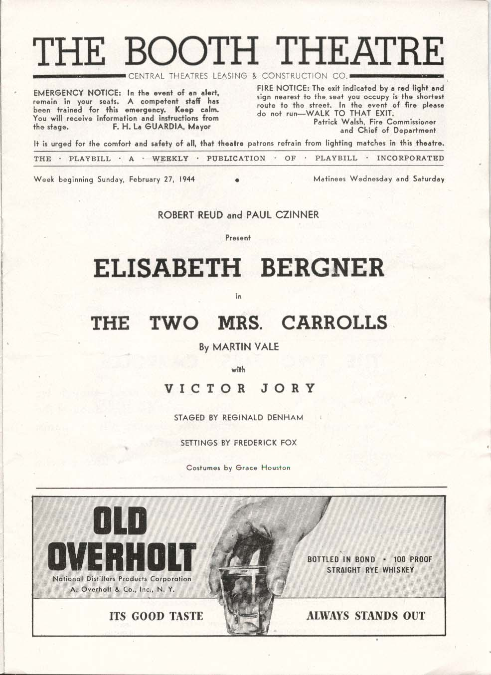 Image for The Two Mrs. Carrolls Playbill 2/27/44 Elisabeth Bergner Victor Jory Booth