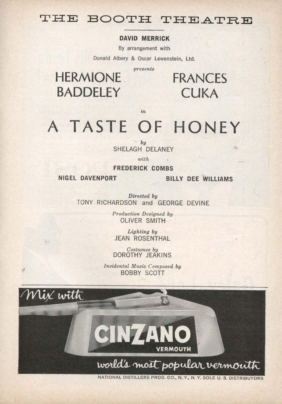 A Taste of Honey Playbill 5/22/61 Hermione Baddeley Frances Cuka Nigel Davenport