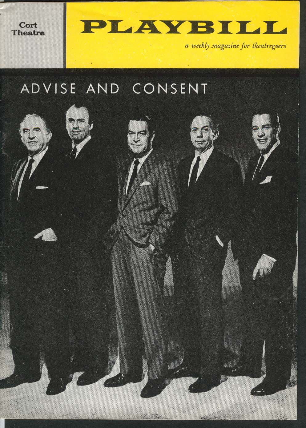 Advise and Consent Playbill 3/6/61 Ed Begley Richard Kiley Kevin McCarthy Cort