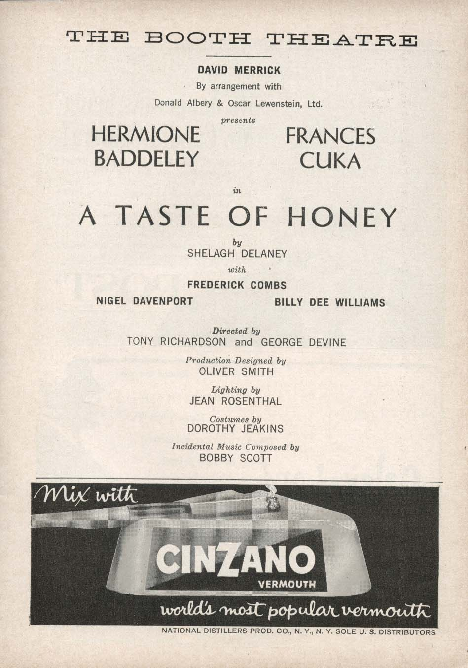 A Taste of Honey Playbill 5/22/61 Hermione Baddeley Billy Dee Williams Booth