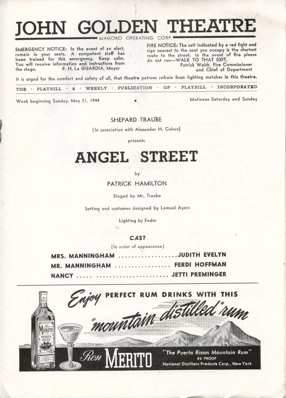 Angel Street Playbill 5/21/44 Judith Evelyn Ferdi Hoffman Jetti Preminger Golden