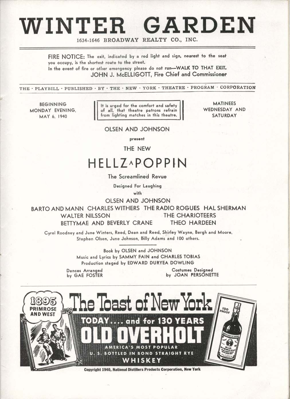 Image for Hellzapoppin Playbill 5/6/40 Hal Sherman Charles Withers Winter Garden