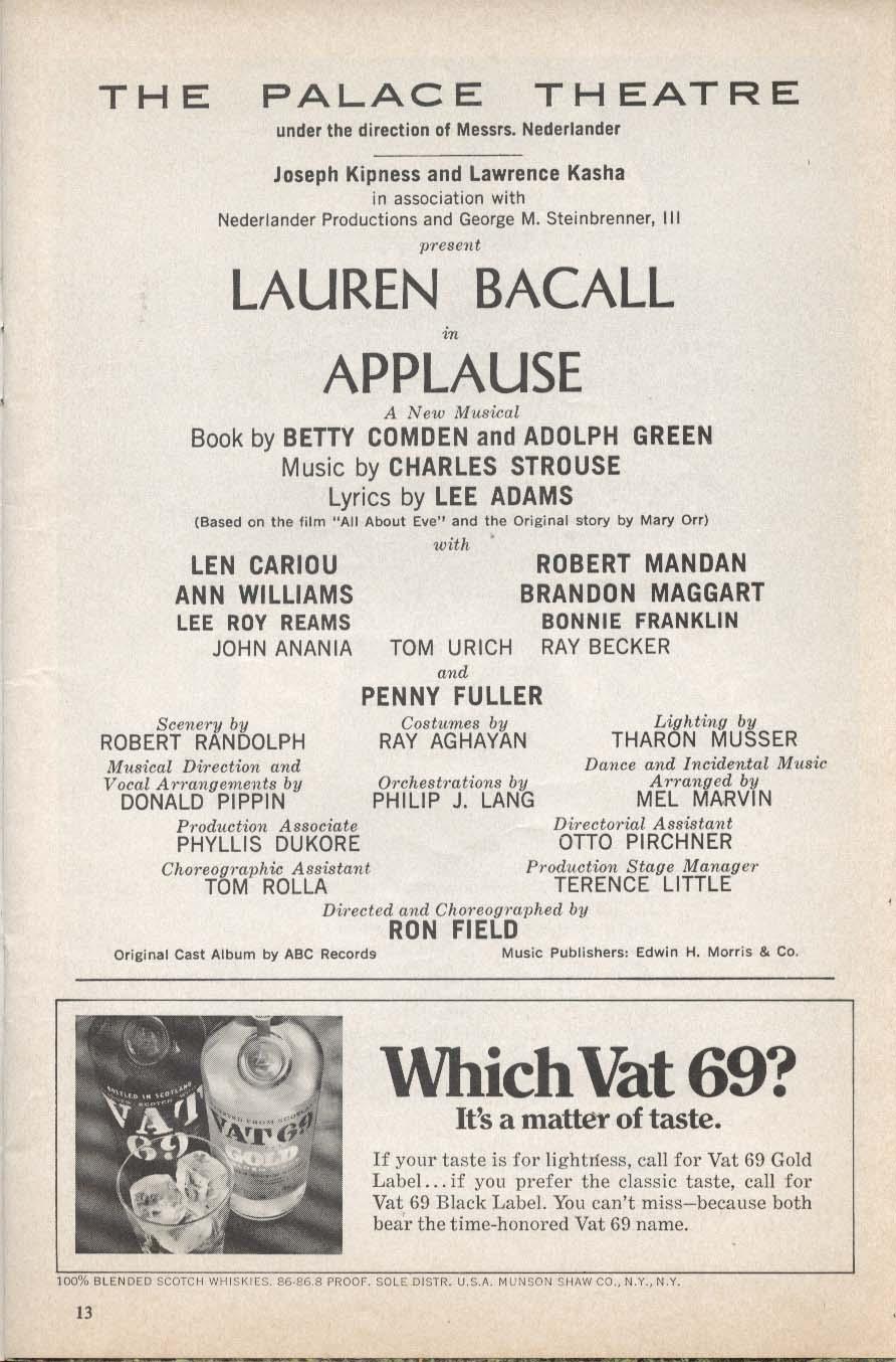 Applause Playbill 8/1970 Lauren Bacall Len Cariou Robert Mandan Ann Williams