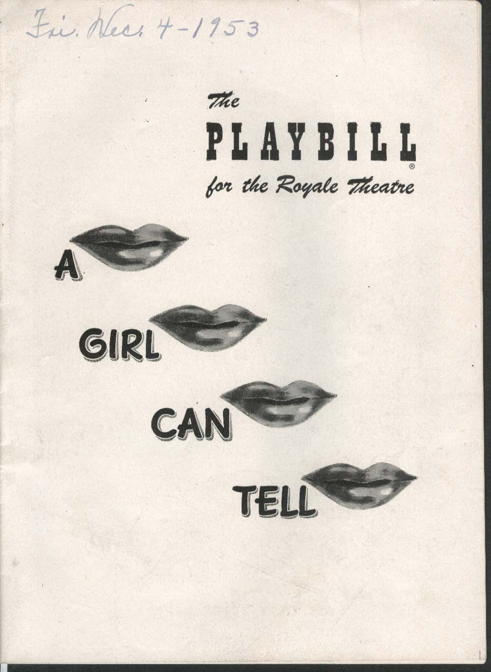 A Girl Can Tell Playbill 12/7/53 Janet Blair Paul McGrath Tod Andrews