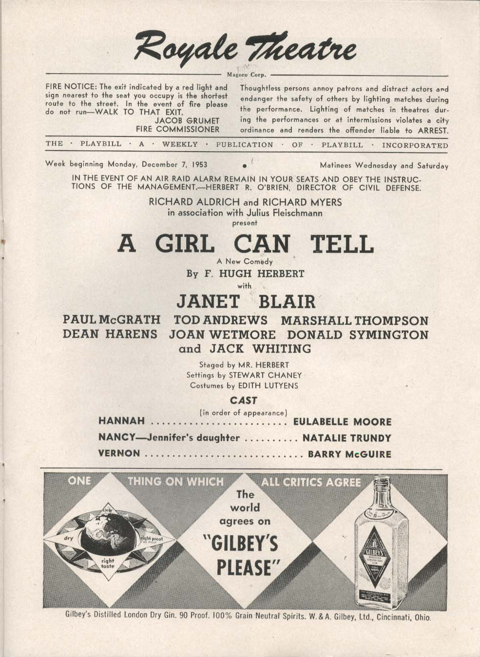 A Girl Can Tell Playbill 12/7/53 Janet Blair Paul McGrath Tod Andrews