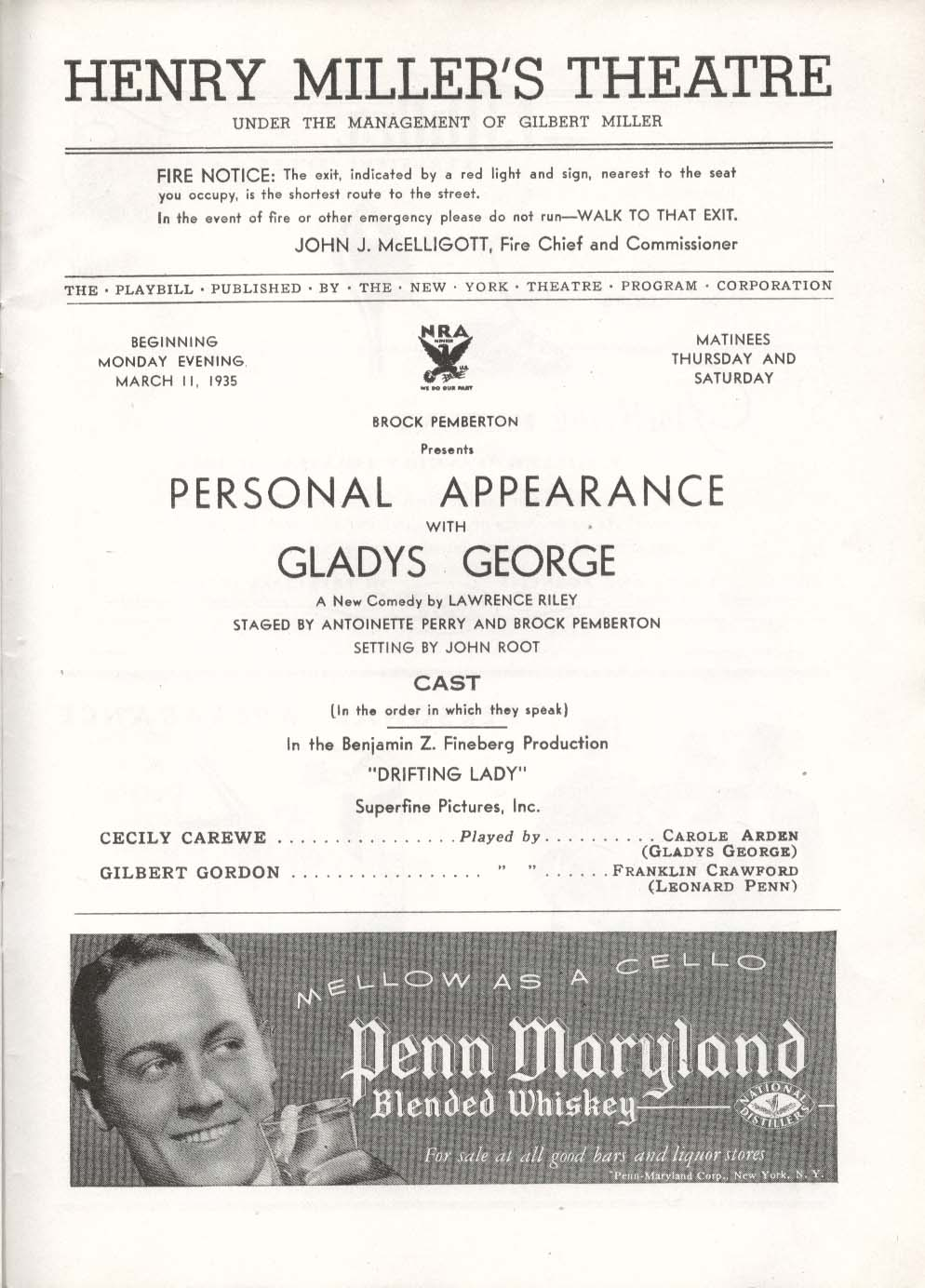 Image for Personal Appearance with Gladys George Playbill 3/11/35