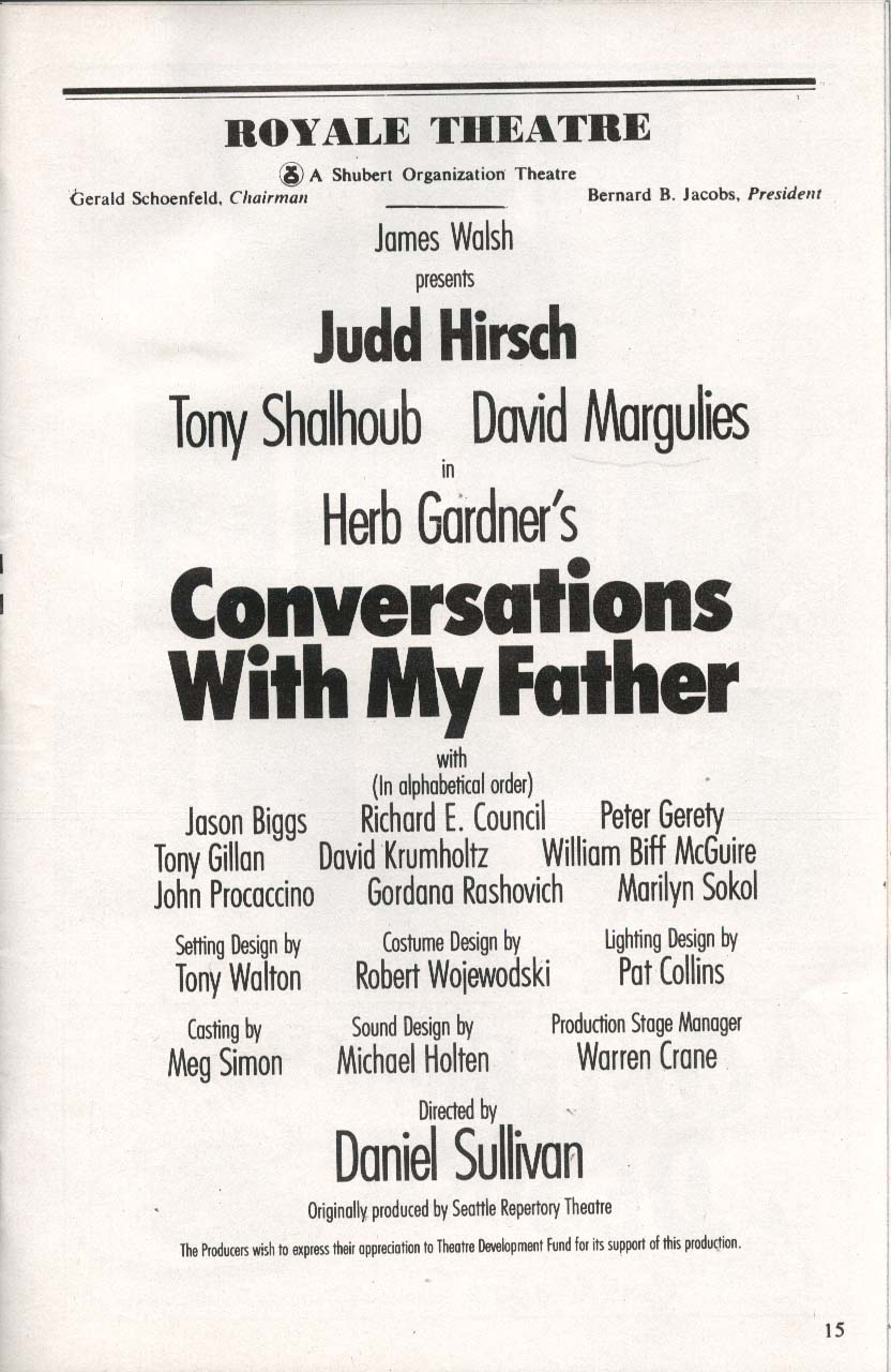 Image for Conversations With My Father Playbill 7/92 Judd Hirsch Tony Shalhoub Jason Biggs
