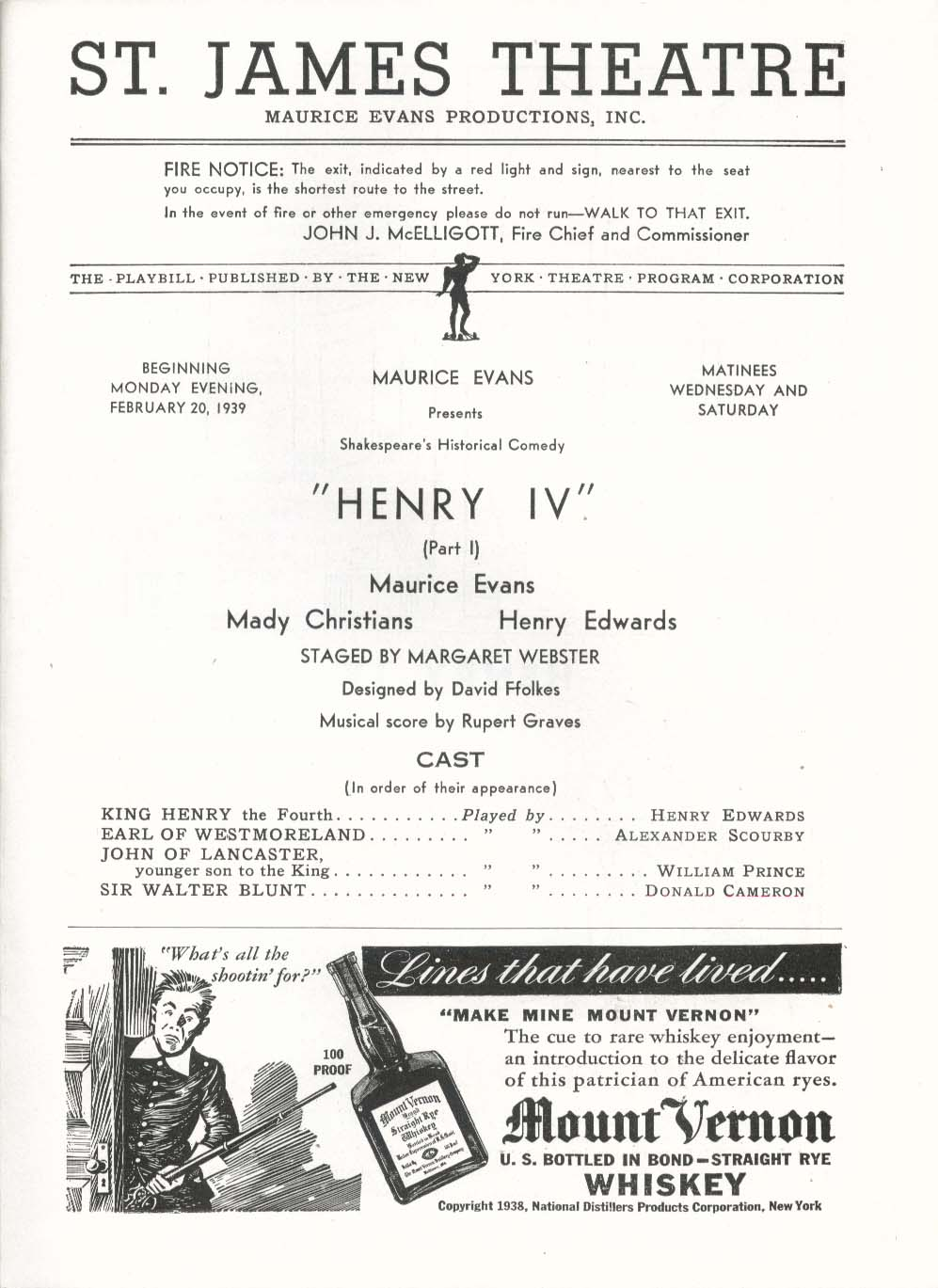 Image for Henry IV Playbill 2/20/39 Maurice Evans Mady Christians Edmond O'Brien St James