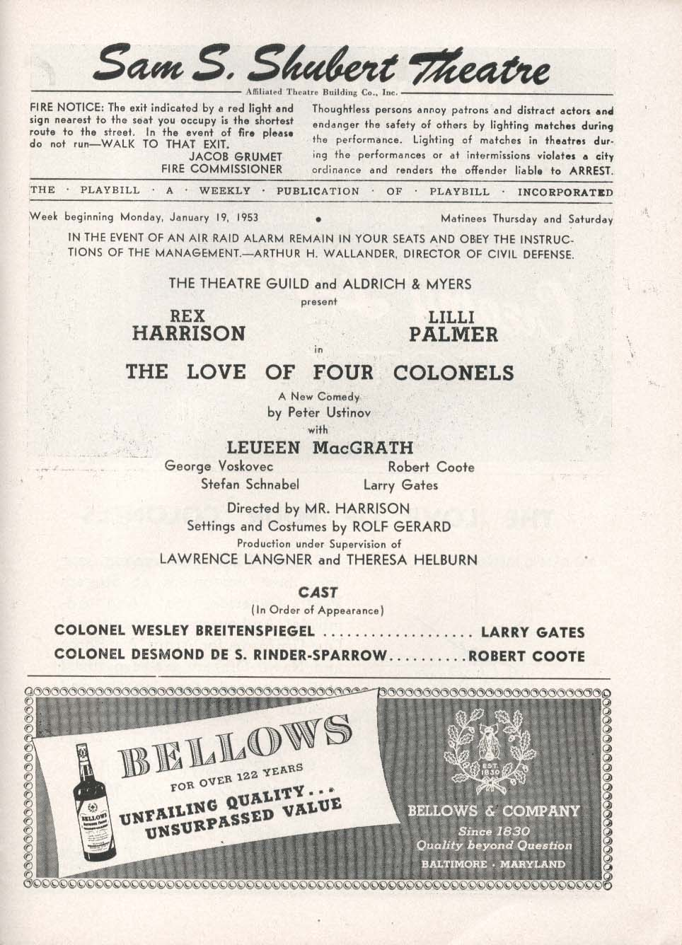 Image for The Love of Four Colonels Playbill 1/19/53 Rex Harrison Lilli Palmer Shubert