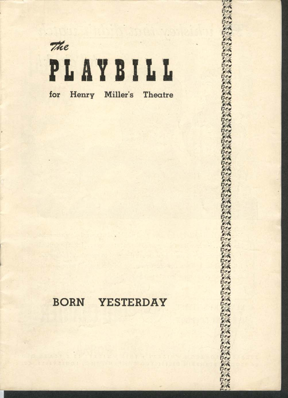 Born Yesterday Playbill 8/15/49 Paul Verrall Larry Oliver Frank Otto Ellen Hall