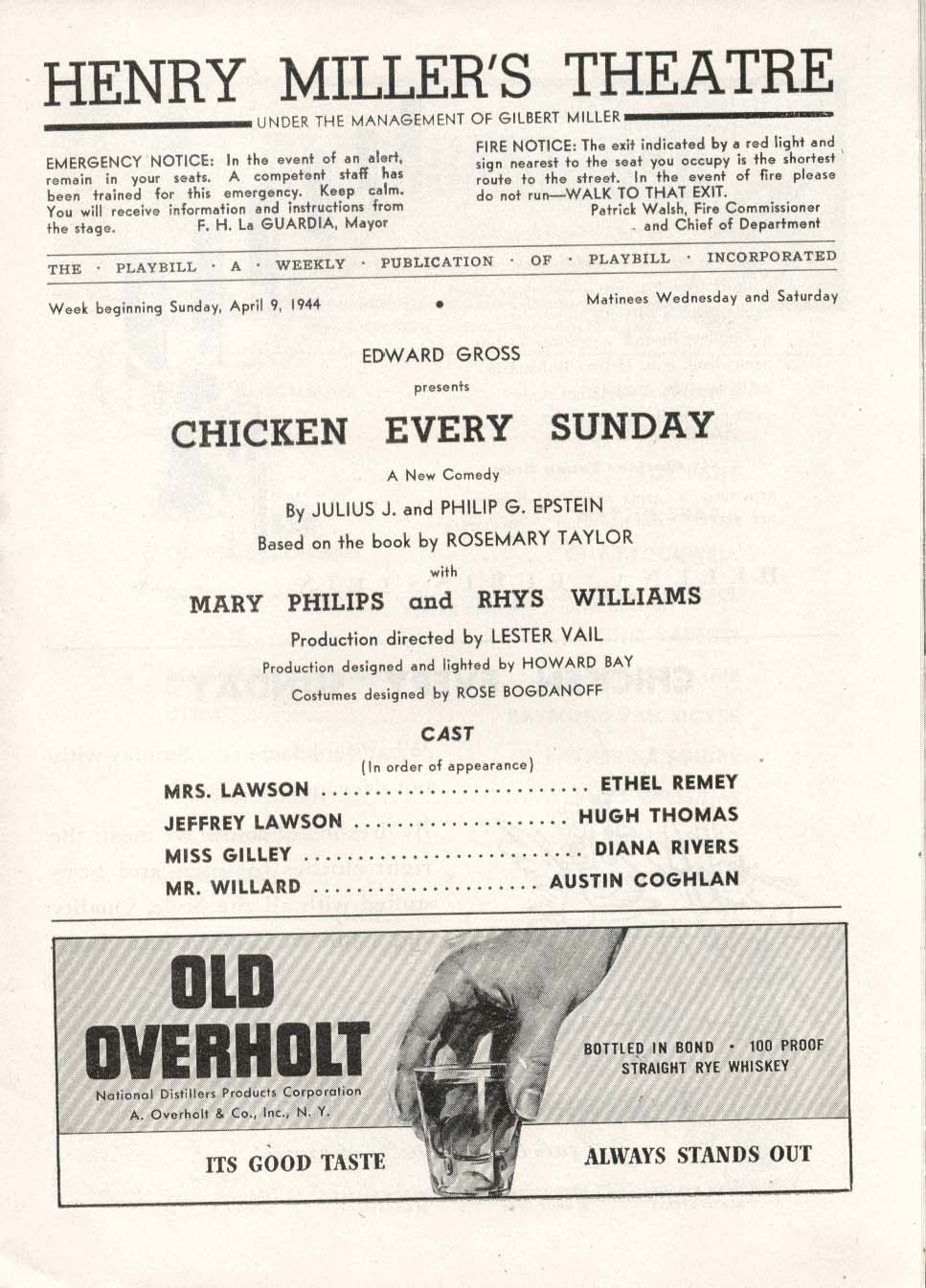 Image for Chicken Every Sunday Playbill 4/9/44 Mary Philips Rhys Williams Henry Miller's
