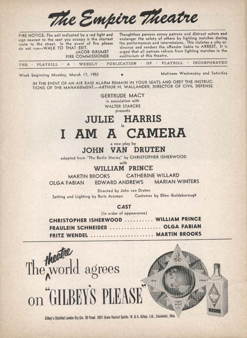 Image for I Am a Camera Playbill 3/17/52 Julie Harris William Prince