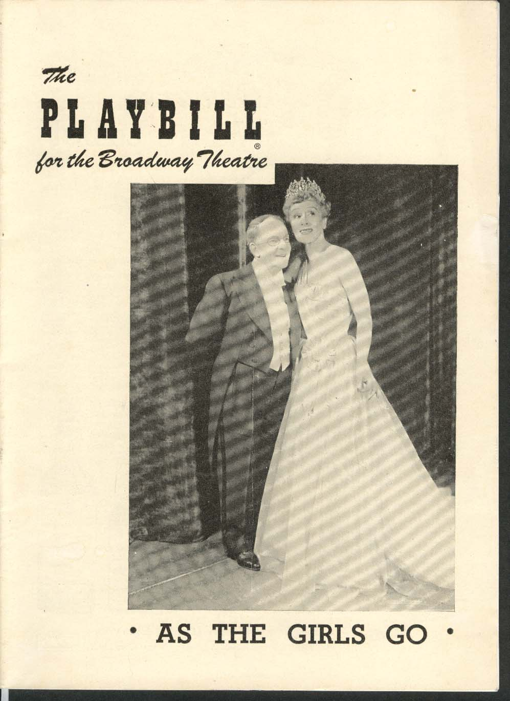 As the Girls Go Playbill 9/26/49 Bobby Clark Irene Rich Broadway Theatre
