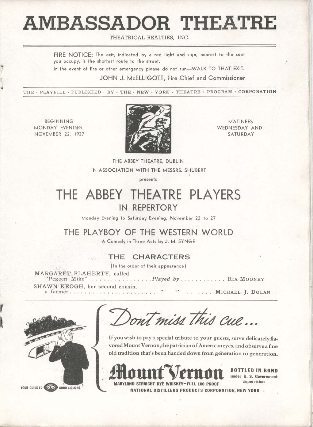 Image for Playboy of the Western World Playbill 11/22/37 Ria Mooney Ambassador Theatre