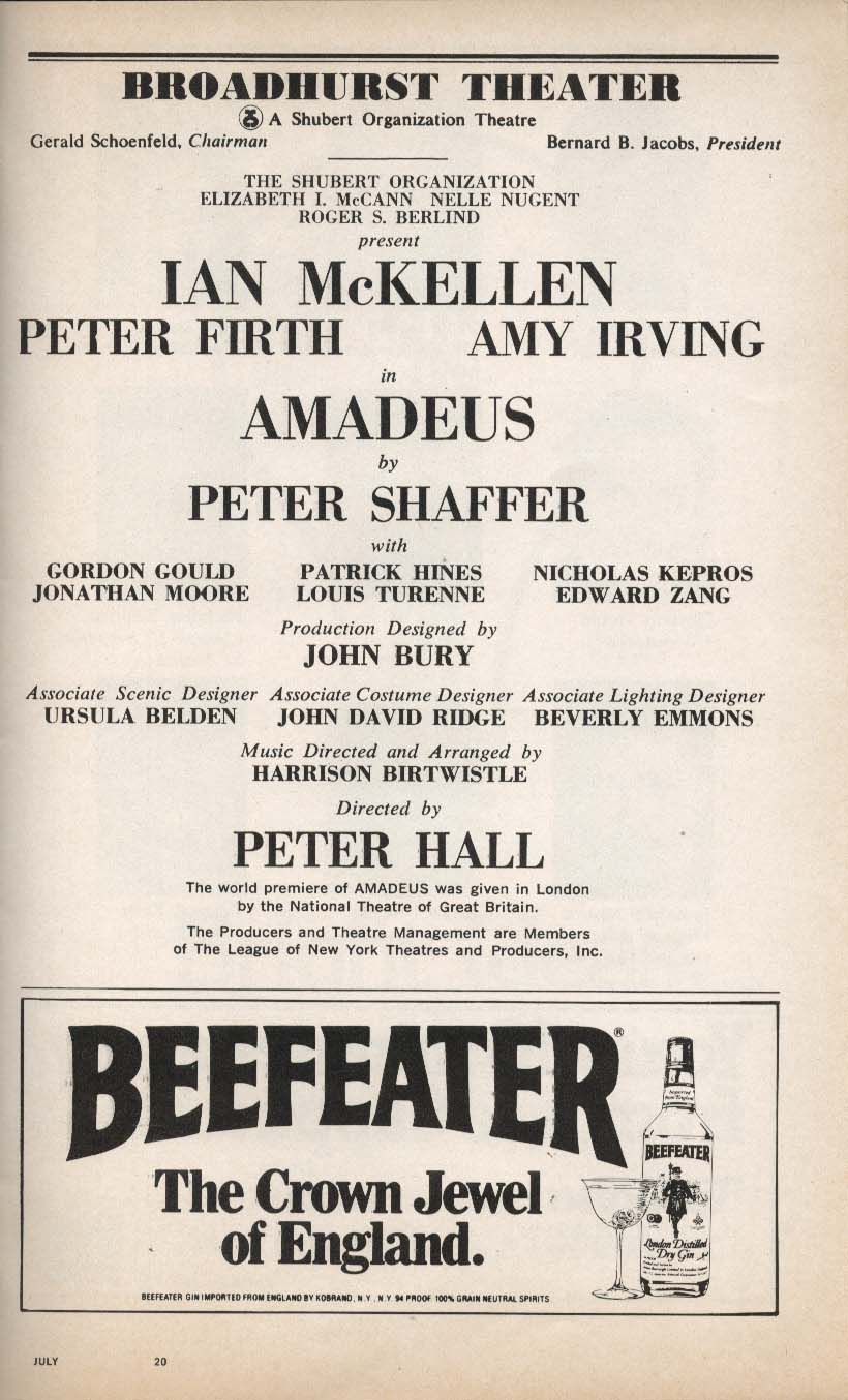Amadeus Playbill 7/1981 Ian McKellen Peter Firth Amy Irving Broadhurst Theatre