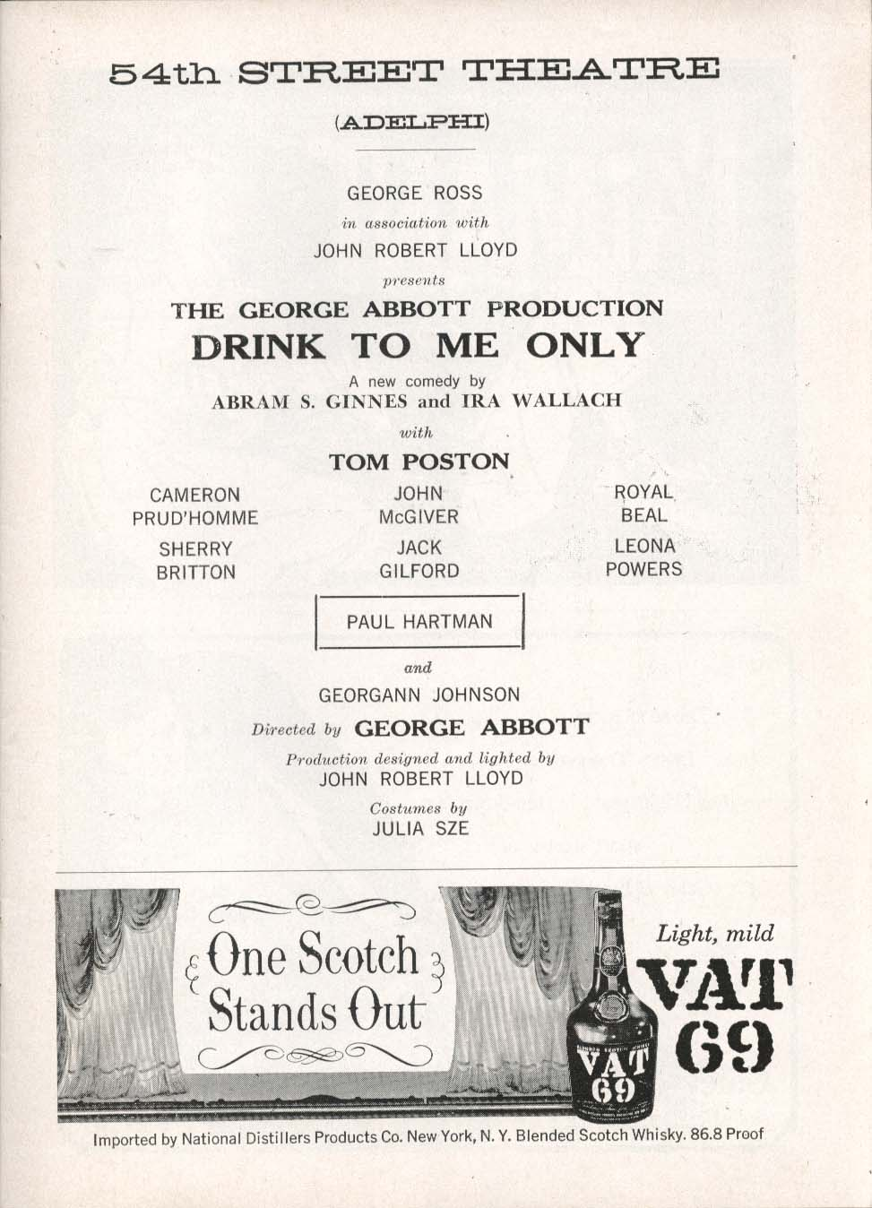 Image for Drink To Me Only Playbill 10/11/58 Tom Poston Paul Hartman 54th Street Theatre