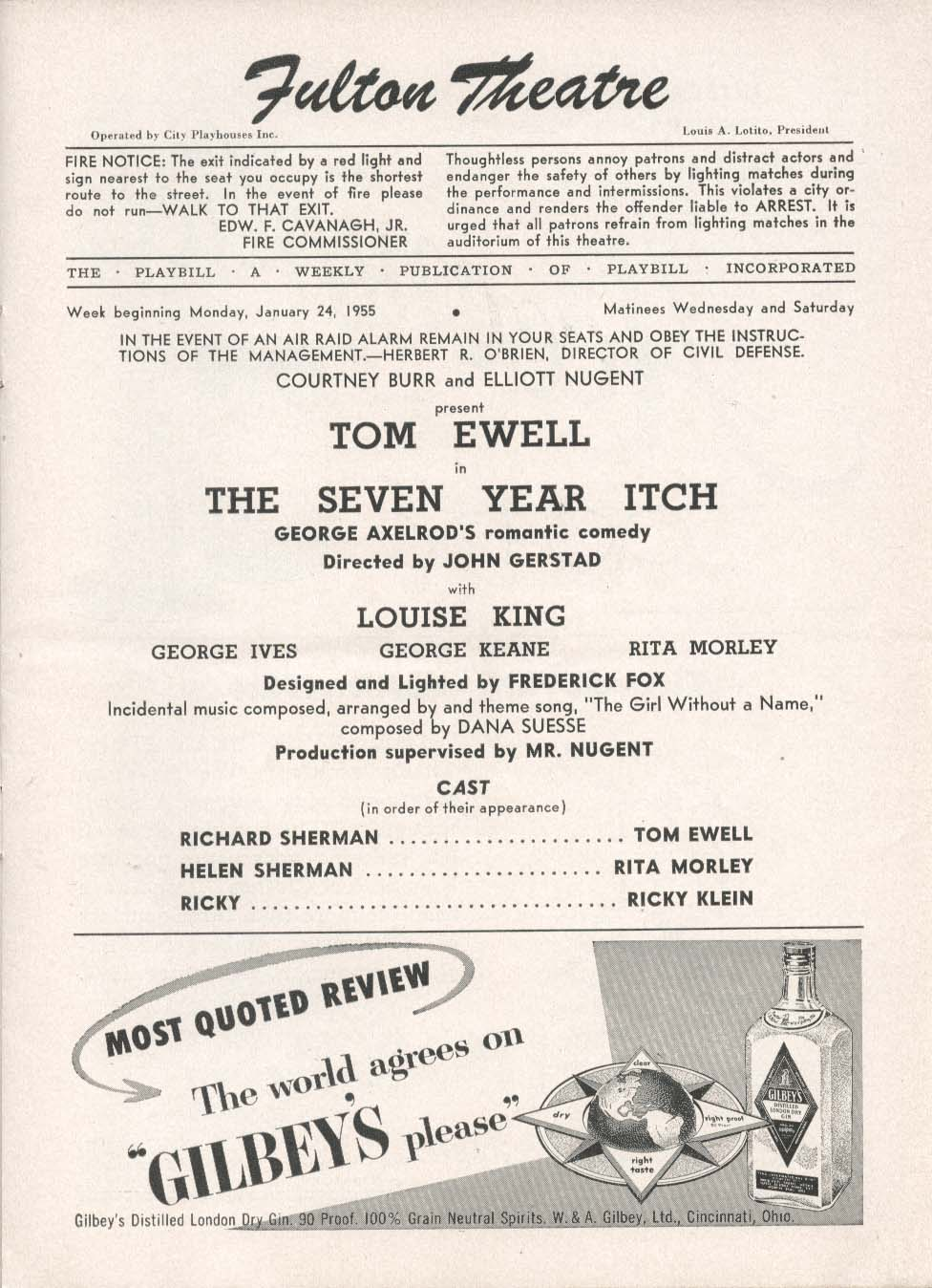 Image for The Seven Year Itch Playbill 1/29/55 Tom Ewell Louise King Fulton Theatre