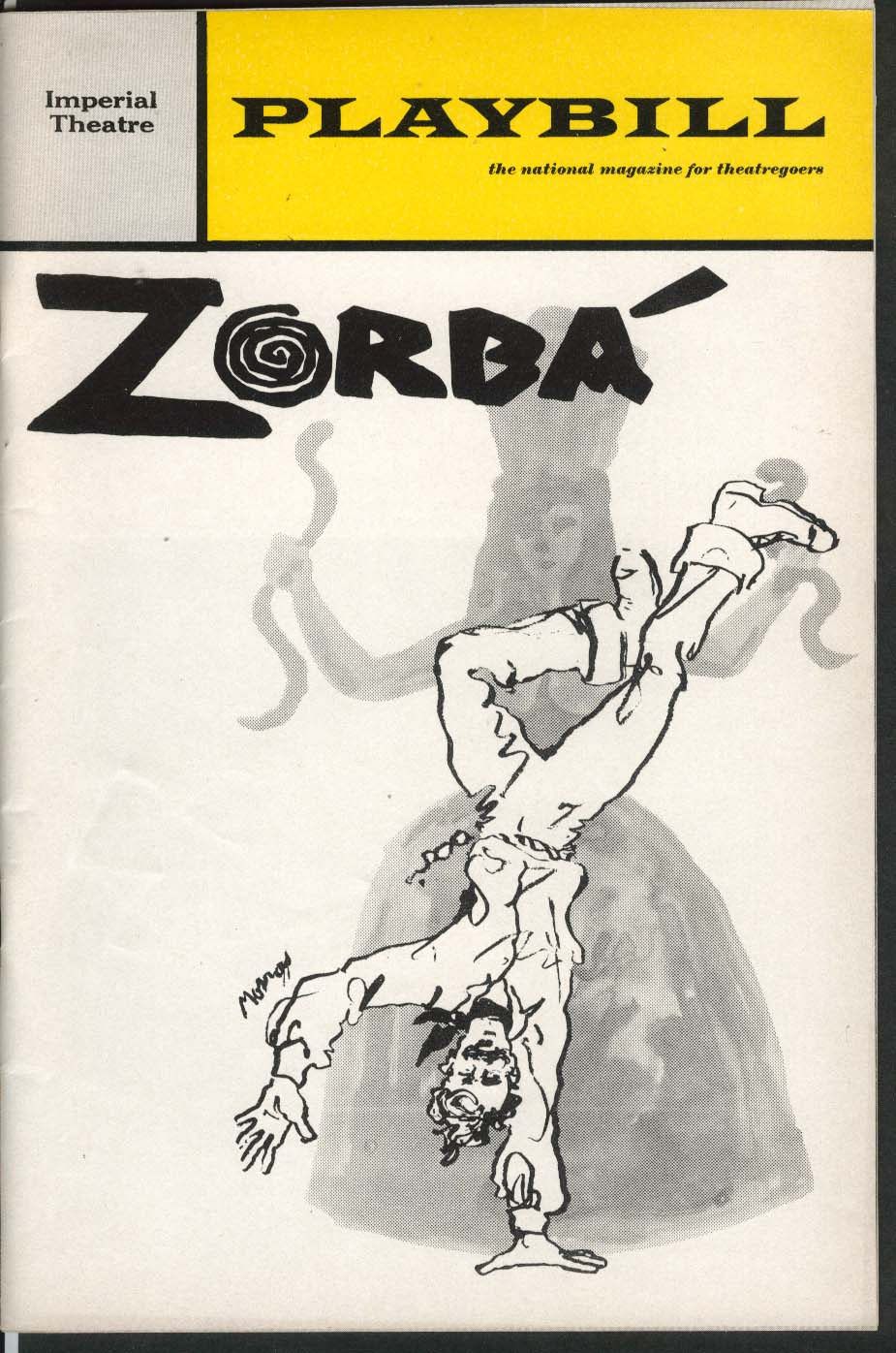 Zorba Playbill 4/1969 Herschel Bernardi Maria Karnilova Carmen Alvarez Imperial